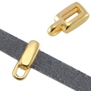 DQ schuiver met oog goud voor 5mm plat leer