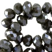 Facet kralen 6x4mm dark army green pearl diamond
