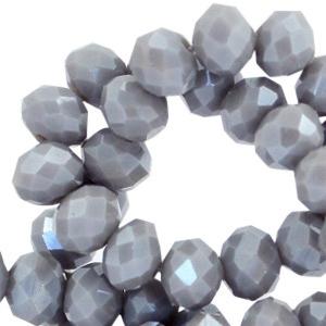 Facet kralen 6x4mm grey satin pearl