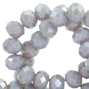 Facet kralen 6x4mm light cool grey pearl