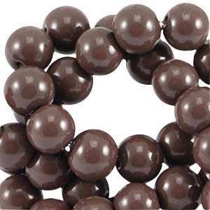 Glaskralen 4mm opaque chocolate brown