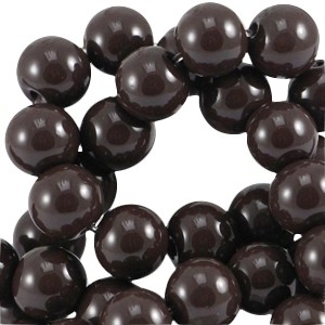 Glaskralen 4mm opaque dark chocolate brown