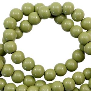 Glaskralen 4mm opaque olive green
