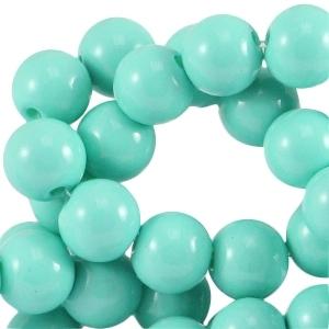 Glaskralen 4mm opaque turguoise green