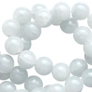 Glaskralen 6mm crackled opal light grey