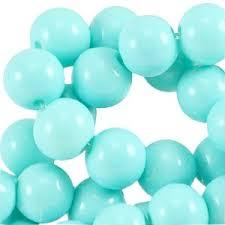 Glaskralen 6mm opaque aqua blue