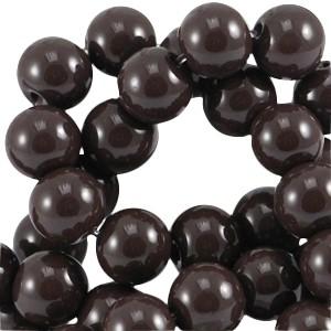 Glaskralen 6mm opaque dark chocolate brown