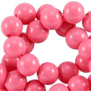 Glaskralen 6mm opaque magenta pink