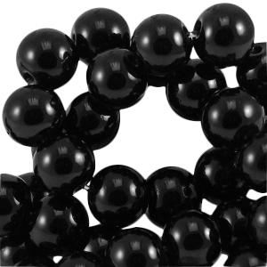 Glaskralen 6mm opaque zwart