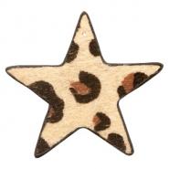 Hairy imi leer hanger ster leopard beige brown