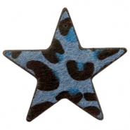 Hairy imi leer hanger ster leopard dark blue