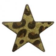 Hairy imi leer hanger ster leopard dark olive green