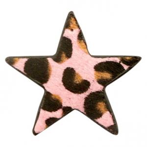 Hairy imi leer hanger ster leopard pink