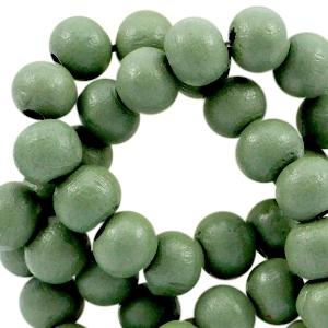 Houten kralen 6mm lily pad green