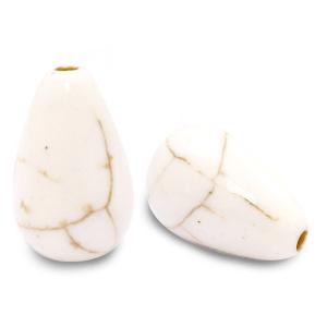 Keramiek kraal druppel off white