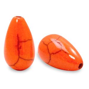 Keramiek kraal druppel persimmon orange