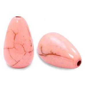 Keramiek kraal druppel rose peach