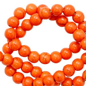 Keramiek kralen 6mm persimmon orange