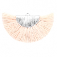 Kwastje hanger light peach zilver