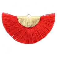 Kwastje hanger ruby red goud