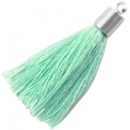Kwastje met eindkap 35mm pastel turquoise