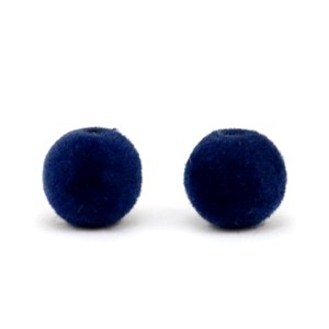 Velvet pompom kralen 8mm dark blue