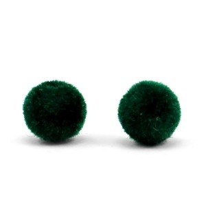 Velvet pompom kralen 8mm dark green