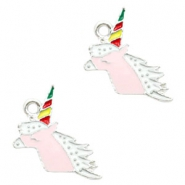 Bedel unicorn hoofd roze zilver