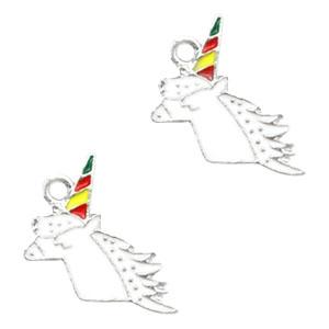 Bedel unicorn hoofd wit zilver