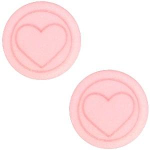 Cabochon 12mm hart pastel coral pink