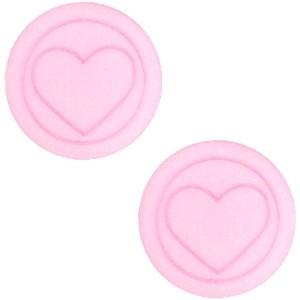 Cabochon 12mm hart pastel rose pink