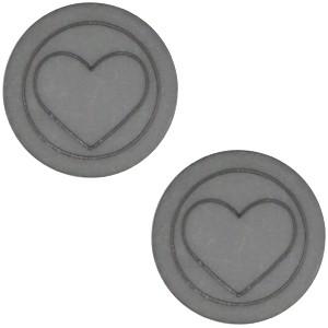 Cabochon 12mm hart stormy silver grey