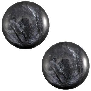 Cabochon 12mm jais anthracite grey