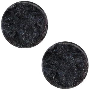Cabochon 12mm jais black plat