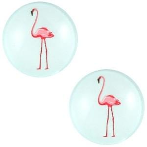 Cabochon 20mm flamingo pastel lichtblauw