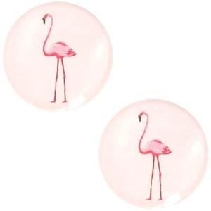 Cabochon 20mm flamingo pastel lichtroze