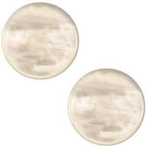 Cabochon 20mm parelmoer almond beige
