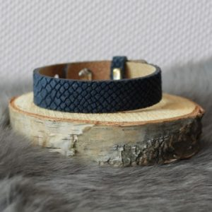 Cuoio armband 15mm croco donkerblauw