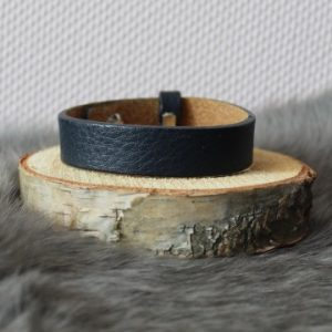 Cuoio armband 15mm donkerblauw