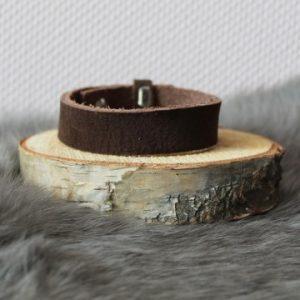 Cuoio armband 15mm suède bruin