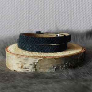 Cuoio armband 8mm croco donkerblauw dubbbel