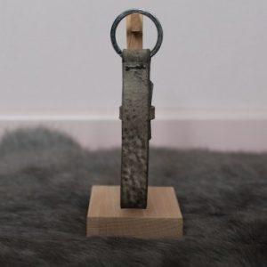 Cuoio sleutelhanger 15mm taupe grijs