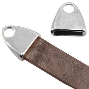 DQ eindkapje zilver voor 10mm plat leer en koord