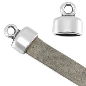 DQ eindkapje zilver voor 5mm plat leer en koord