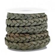 DQ gevlochten leer 5mm greenish grey