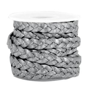 DQ gevlochten leer 5mm grey metallic