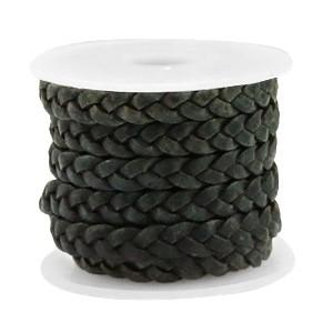 DQ gevlochten leer 5mm vintage dark green