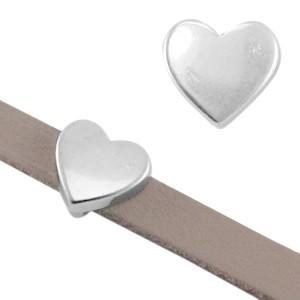 DQ schuiver hart zilver voor 5mm leer en koord