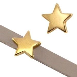 DQ schuiver ster goud voor 5mm leer en koord