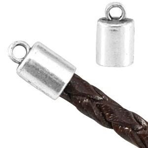 Eindkapje zilver voor 4x3mm leer en koord